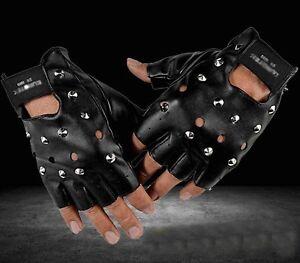 Men/'s Punk Rocker Skull Studded Fingerless Driving Genuine Leather Gloves black