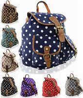 Ladies Girls Kids Polka dot Canvas Backpack Rucksack School College Shoulder Bag