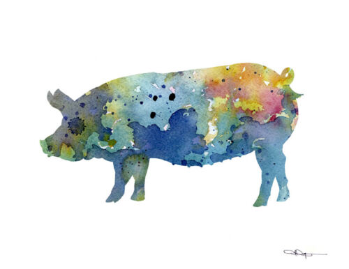 Blue Pig Contemporary Watercolor Abstract Farm Animal Kitchen ART Print