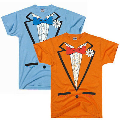 LIGHT BLUE or ORANGE RUFFLED TUXEDO TEE costume dumb and dumber halloween TUX