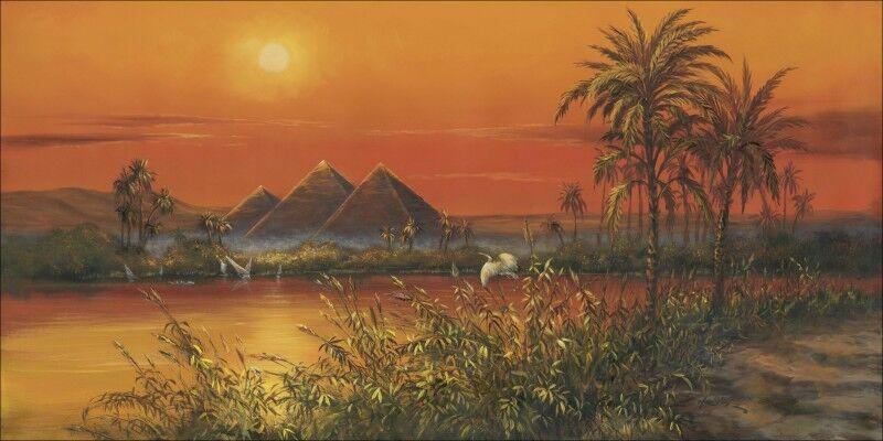 Wandbilder selbstklebend A. Heins Landschaft Afrika Ägypten Malerei Orange B9CX