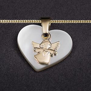 Details zu Gold 585 Schutz Engel Perlmutt Herz Anhänger mit Kette Wahl Silber 925 vergoldet