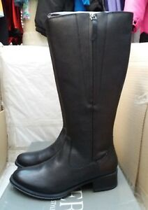 PAVERS Wide Leg Leather Knee High Boot