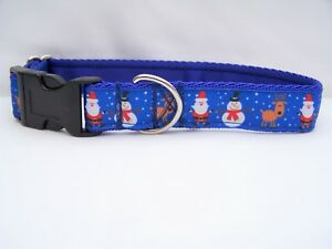 Azul-De-Regalo-De-Navidad-Collar-de-perro-de-Papa-Noel-y-munecos-de-nieve-para-pequenas-medianas-y