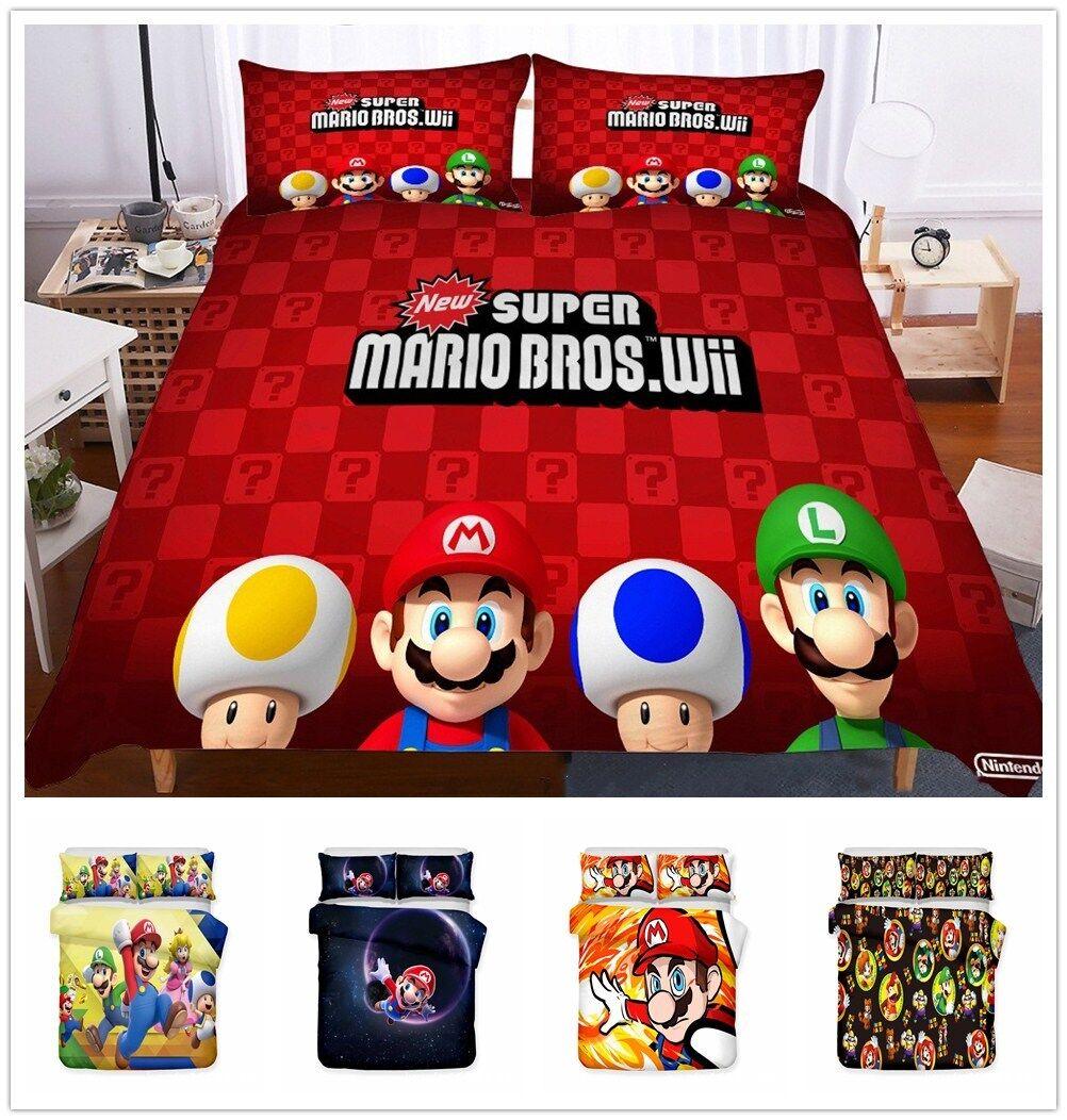 3D Super Mario Bros Game Kids Bedding Set Duvet Quilt Doona Cover Pillowcase