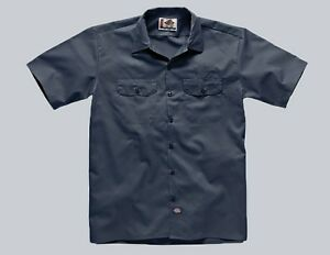 Dickies-Hemd-Shortsleeve-Work-Shirt-Navy-blau-Gr-S-3XL-Kentkragen-Baumwolle
