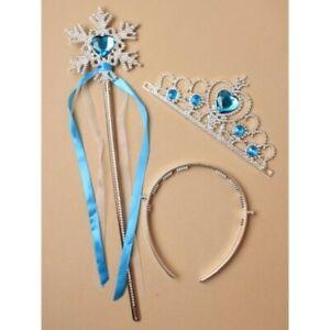 2 Piece Set Gift Frozen Princess Queen Anna Elsa Wand /& Tiara Crown Dressing up
