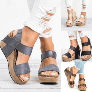 Women-039-s-Chunky-Heel-Leopard-Print-Sandals-Open-Toe-Wedge-Sandals-Summer-Shoes
