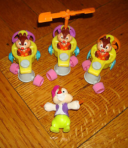 x4 lot chip n dale rescue rangers mcdonalds happy meal toys car