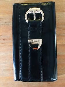 f095fcb6f9c3d2 GUCCI Black Patent Leather Romy Clutch w/ Silver Buckle at Front | eBay