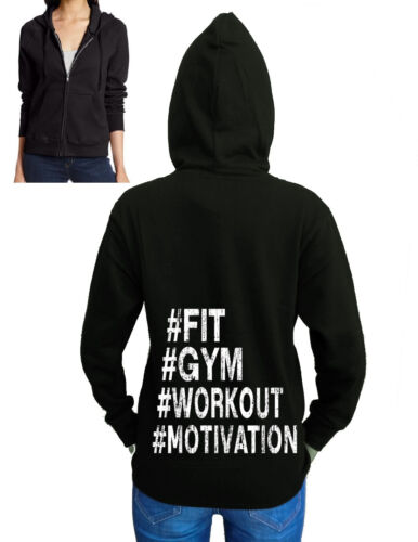 Junior/'s Hashtag #Fit Gym Workout Motivation Black Fleece Zipper Hoodie Sweater