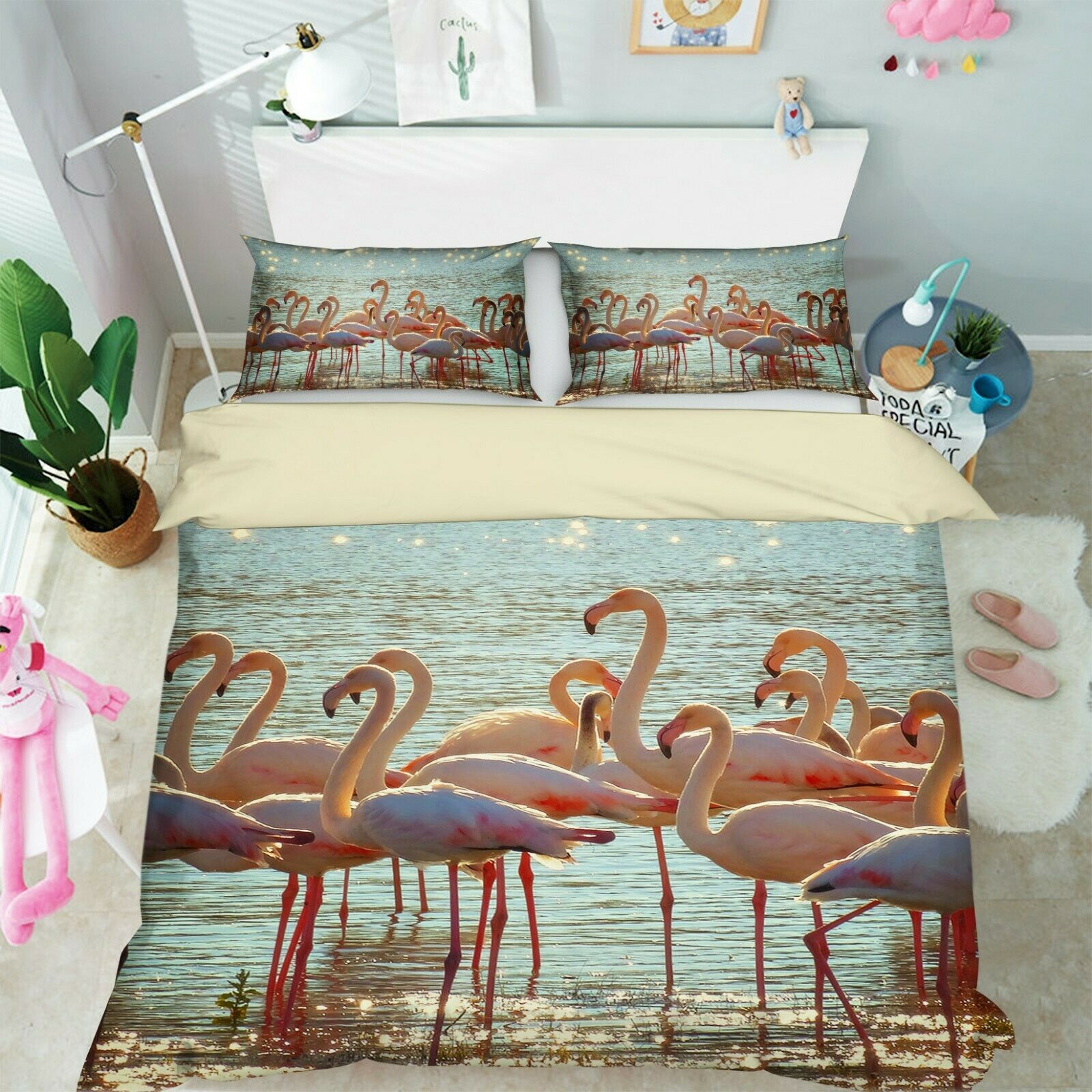 3D Flamingos I32 Animal Bed Pillowcases Quilt Duvet Cover Queen King Angelia
