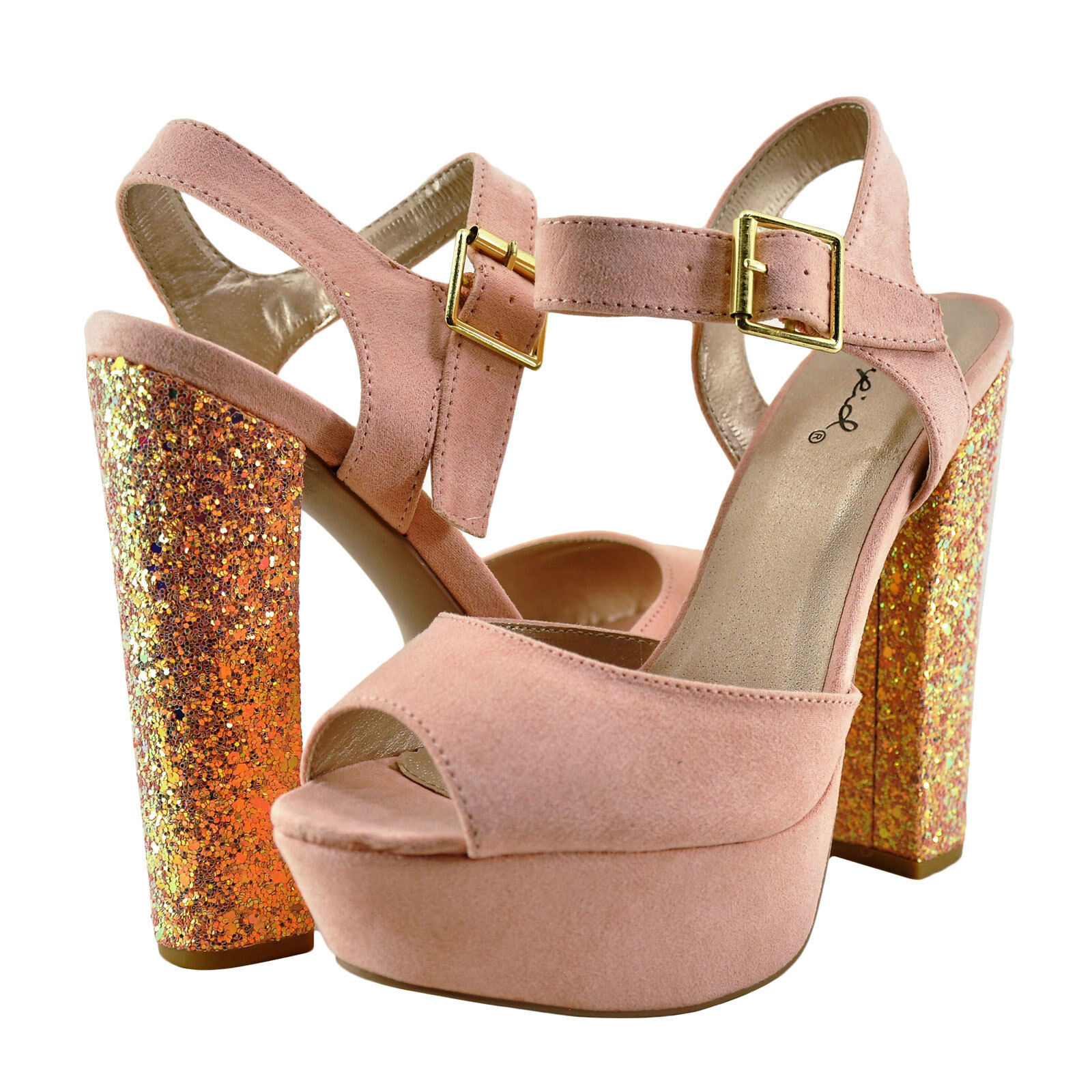 Womens Shoes Qupid Beat 49 Open Toe Chunky Glitter Heel Soft Blush *New*