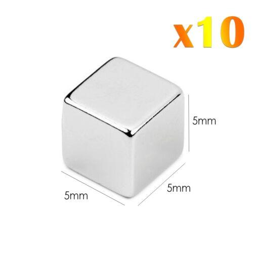 10 x Neodimio Cube Imanes Súper Fuerte Magnetic Block Rare Earth NdFeb N42