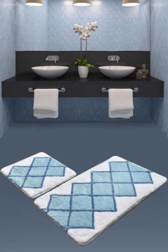 Badematten 2-teilig Set Badematte Badteppich Badvorleger Duschvorleger blau weiß