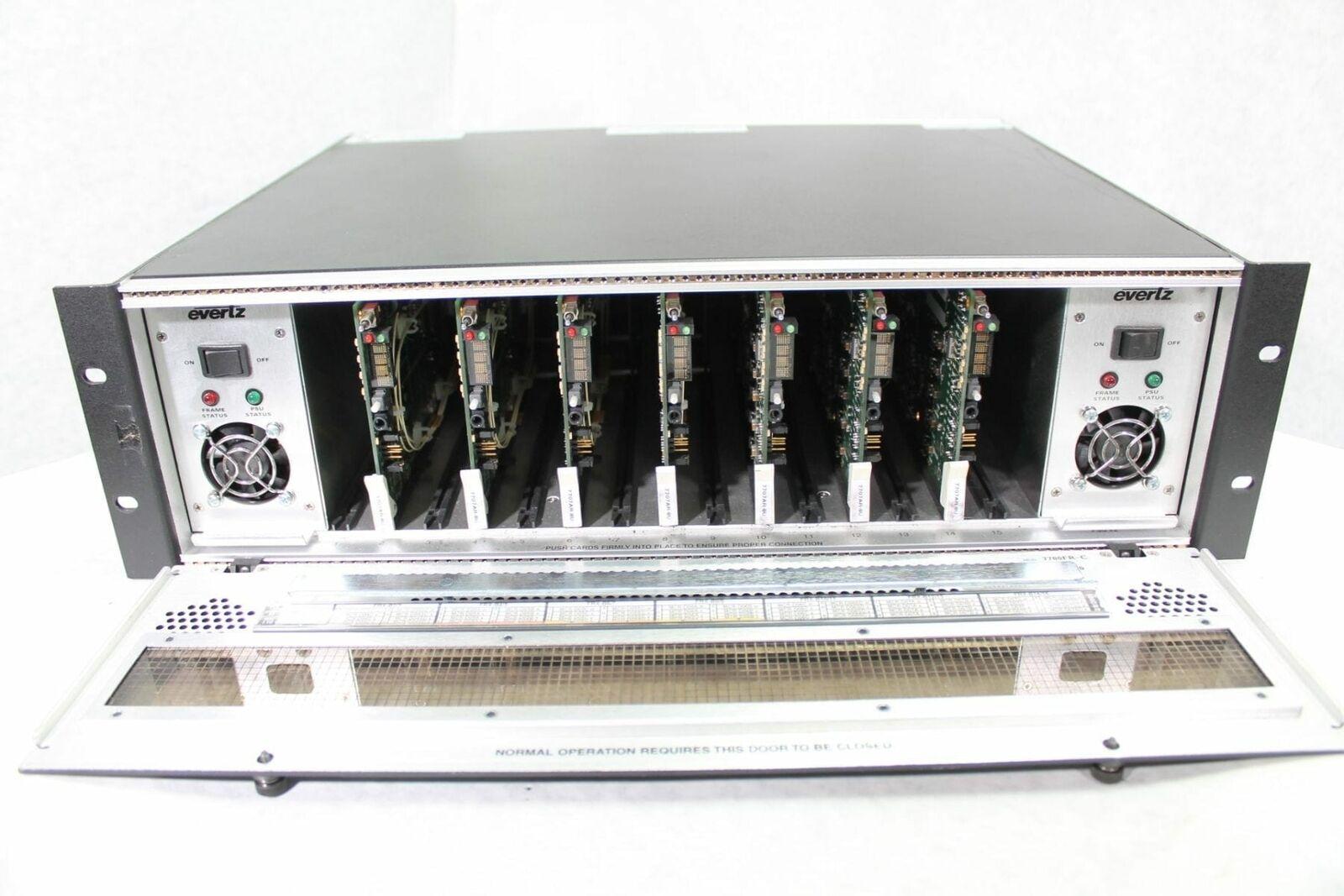 EGrünz 7700FR-C 3U Multiframe w  (2) Power Supplies & (7) 7707AR-8U Cards