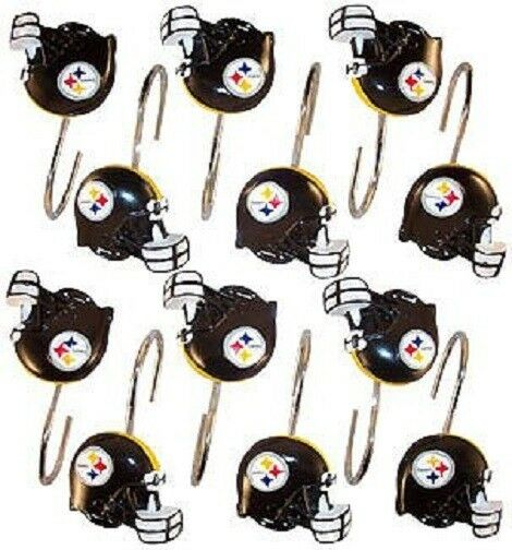 NFL Pittsburgh Steelers Shower Curtain Rings Hooks Sets Of 12