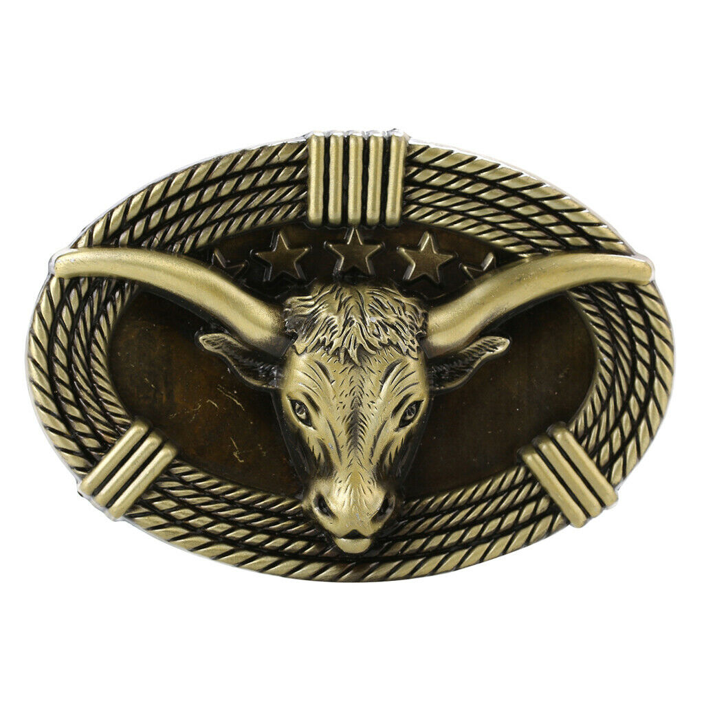 3D Ox Head Carved Belt Buckle Stars Cowboy Jewelry Buckle Replacement Bronze
