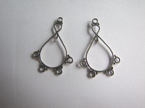 2 X BALI 925 Sterling Silver Chandelier Earring Findings Connectors 32mm