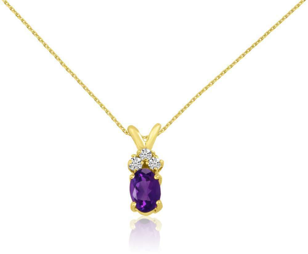 14K Yellow gold Oval Amethyst Pendant with Diamonds (Chain NOT included)