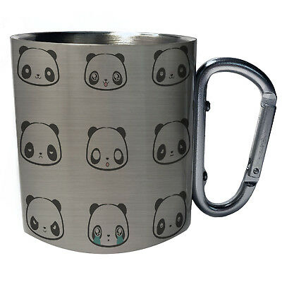 Panda faces Novelty Funny Best gift  White//Steel Travel 14oz Mug s3t