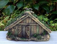 Miniature Dollhouse Fairy Garden Viking Village Wood Look House W Grass Roof
