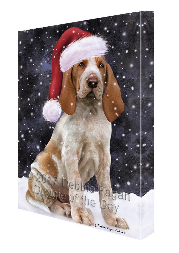 Let it Snow Christmas Holiday Bracco Italiano Dog Canvas Wall Art T12