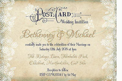 PERSONALISED SHABBY CHIC VINTAGE LACE POSTCARD WEDDING INVITATIONS PACKS OF 10