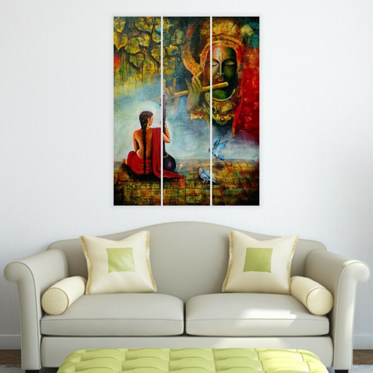 Lord Krishna-Split Image 3 panneaux pour salon murs  144 - hktpic-UK