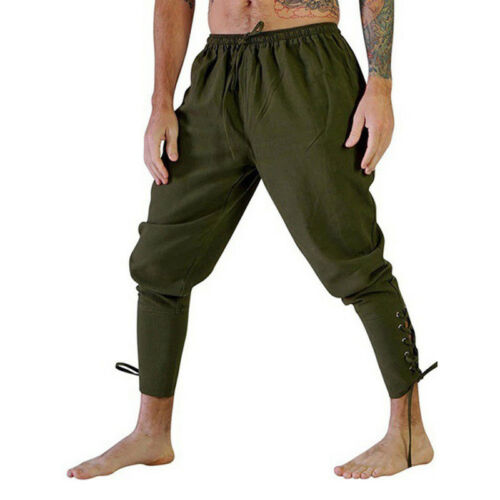 Medieval Renaissance Men Sleeveless Knight Top Shirt Pants Knight Pirate Costume