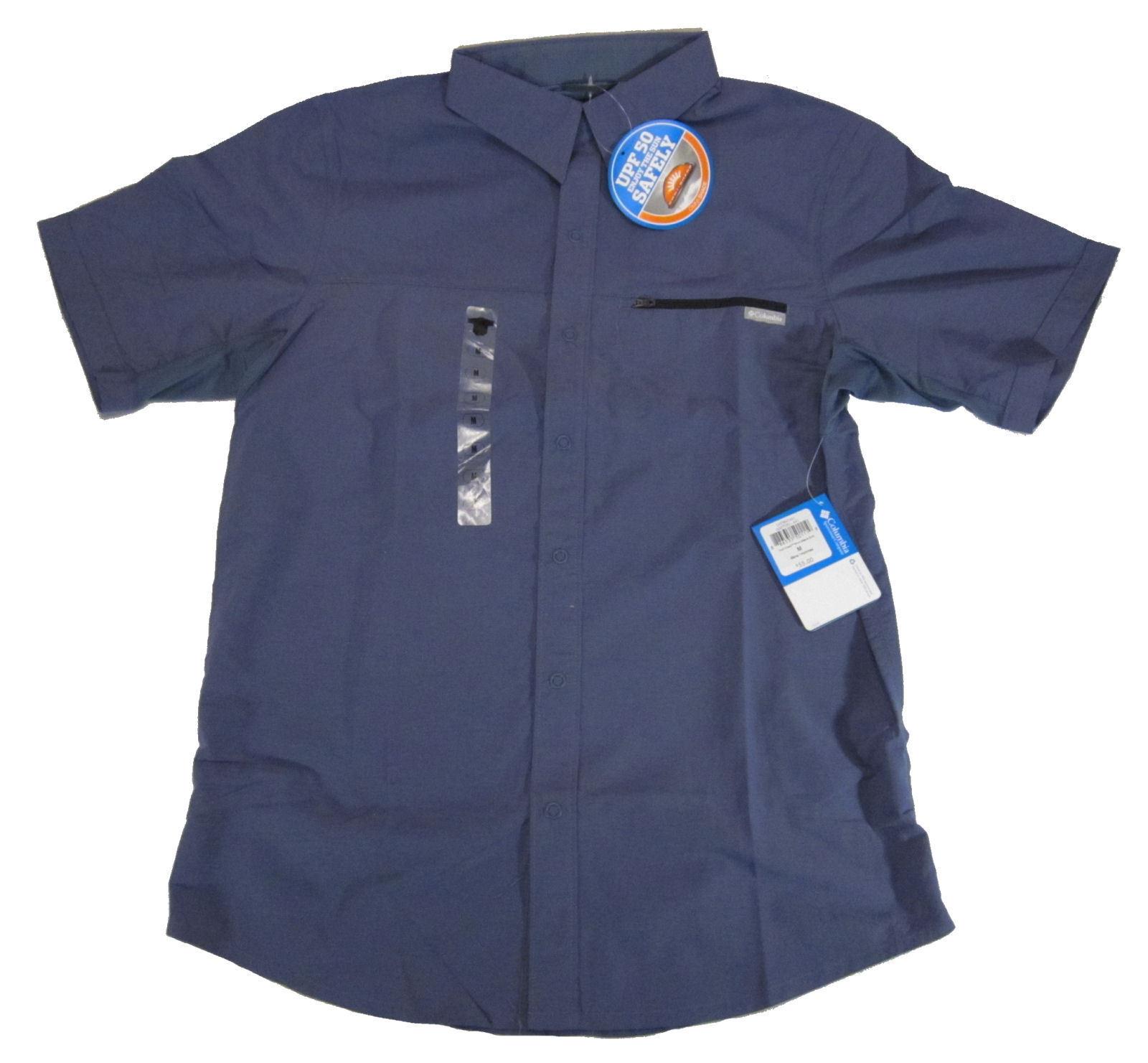 Columbia Cool Creek Short Sleeve Shirt, Medium, Slate bluee