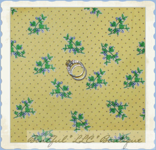 BonEful Fabric FQ Cotton Quilt VTG Yellow B/&W Flower Calico Berry Dot Blue White