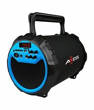 Axess Portable SPBT1034-BL Portable Bluetooth Speaker with Wired Mic, Blue New