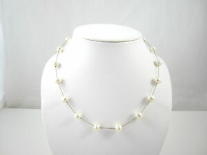 25ee2003e583e Details about 14k IWI Yellow Gold 8mm Freshwater Floating Pearl Necklace  1mm Chain 18