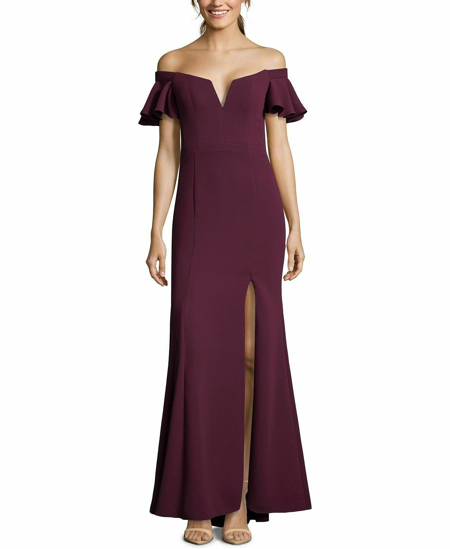NEW  XSCAPE damen lila OFF-THE-SHOULDER FLUTTER-SLEEVE GOWN DRESS Größe 14