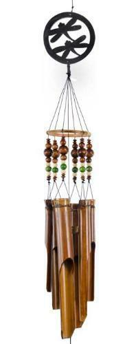 Bamboo Dragonfly w//Colored Beads Wind Chimes