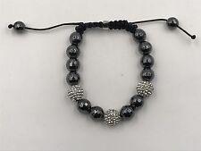 10mm Shamballa Beaded Adjustable Bracelet Genuine Hematite  Hand Set Crystals