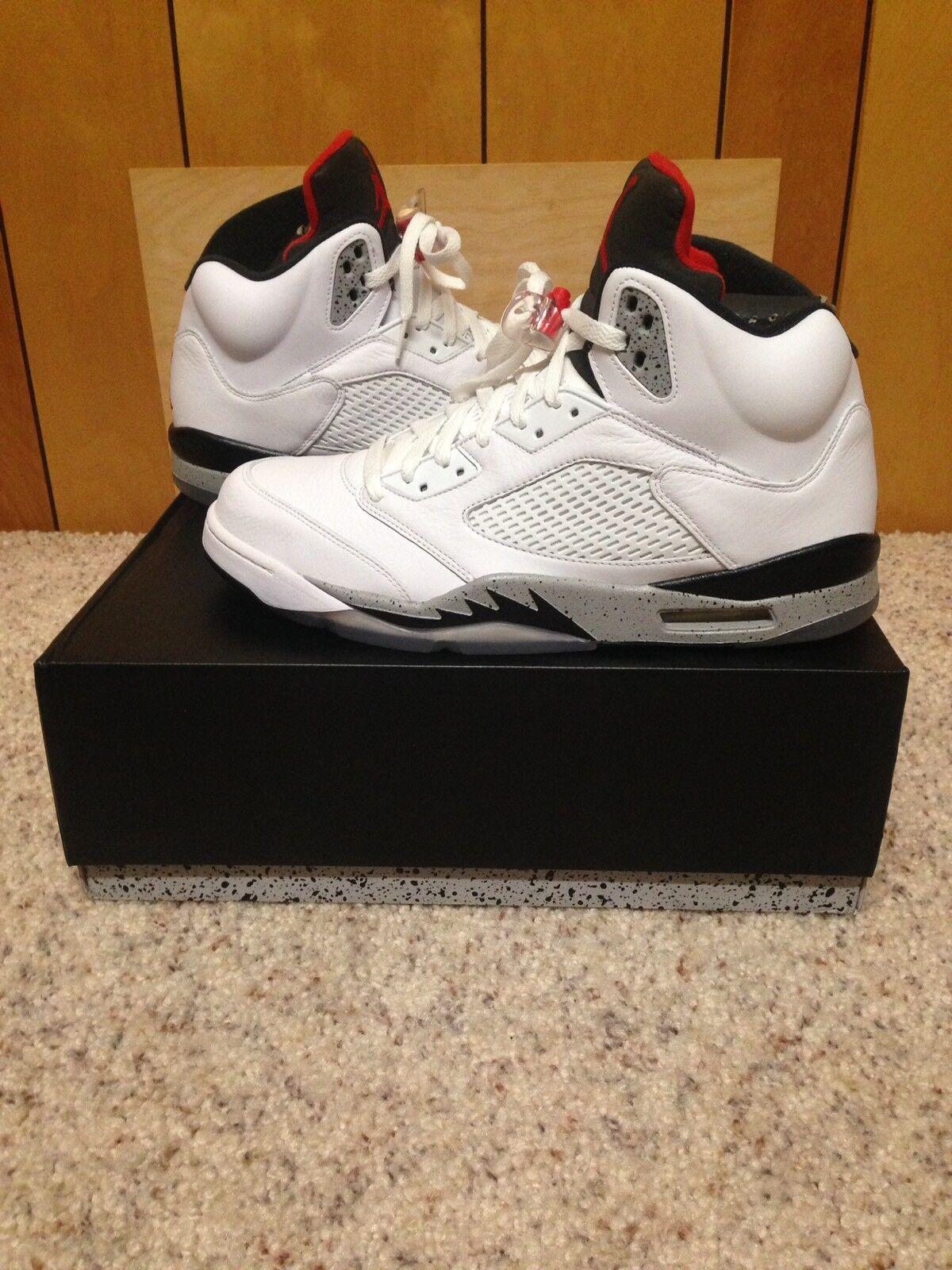 Jordan 5 Retro Size 13 White University Red-Black