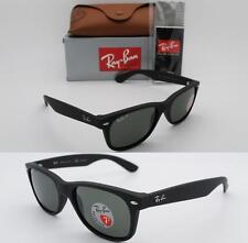 Authentic Ray-Ban New Wayfarer RB 2132 622/58 52MM Rubber Black Green Polarized