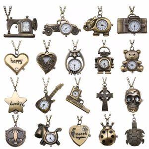 Retro-Vintage-Antique-Steampunk-Bronze-Pocket-Watch-Quartz-Necklace-Pendant