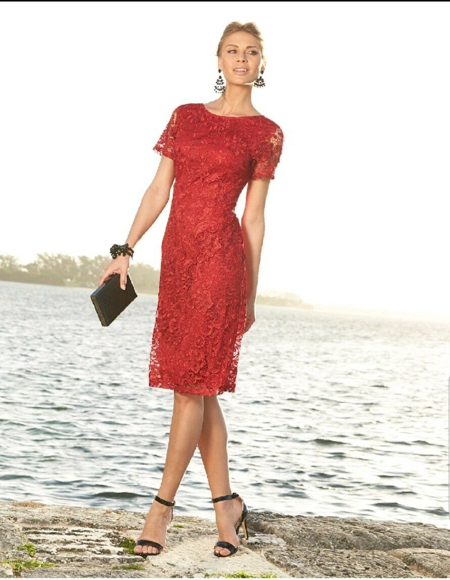 Joanna Hope Rosso A Maniche Corte Laced dress Dimensione 16