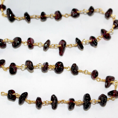 3 Feet GARNET CHIPS Bead Link Chain 24K Gold Plated Rosary DIY Gem Crystal Mala