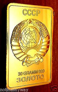 Russia-Gold-Bar-Soviet-Union-CCCP-USSR-Emblem-Eagle-Red-Star-Hammer-amp-Sickle-bin