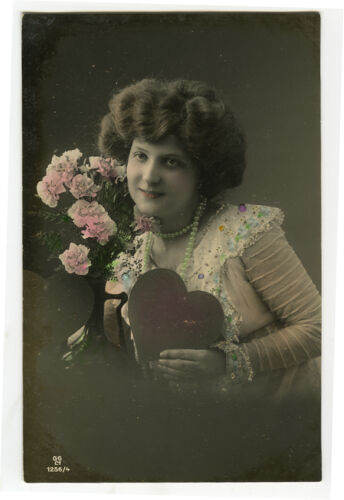 c 1910 European Glamour LOVELY LADY with a HEART photo postcard