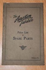 Austin Twelve Price List Of Spare Parts Publication Number 477e
