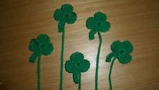 5  x handmade crochet green  shamrocks / Leaves  Appliques / ST PATRICK DAY