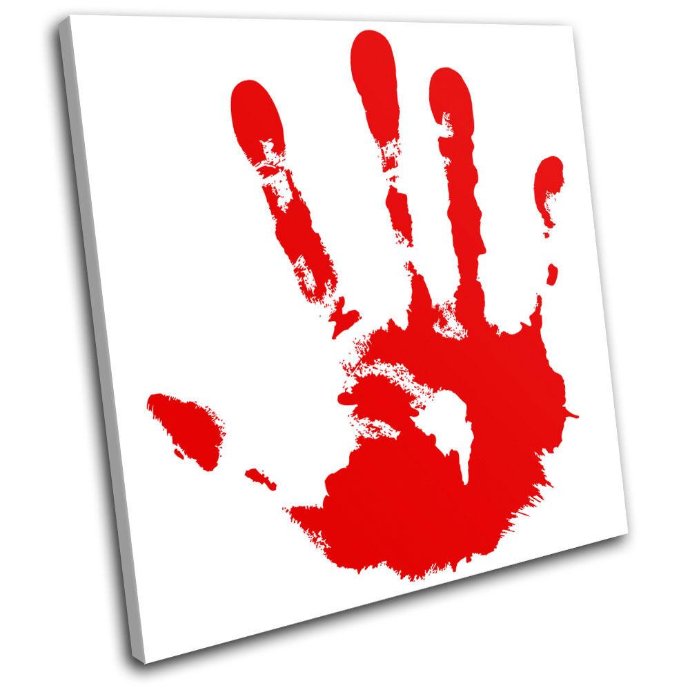 Blood Hand Print Illustration SINGLE TELA parete arte foto stampa