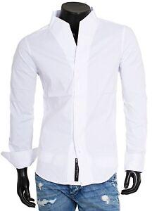 CARISMA Fête Homme Chemise à manches longues col montant slim fit h-902 Blanc