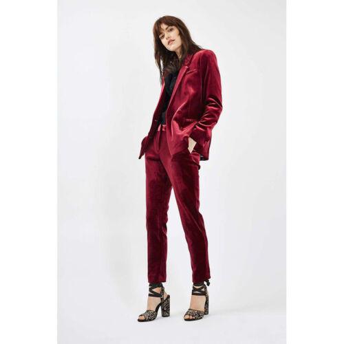 Burgundy Womens Business Suits Velvet Ladies Office Uniform Female Trouser Suits