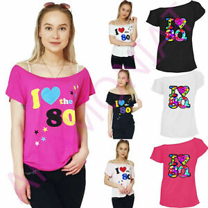 Nuevo-Chicas-me-encanta-el-80s-camiseta-Manga-Corta-Retro-Pop-Star-Top-senoras-Tees